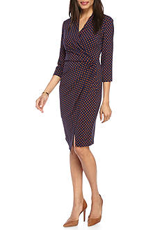 Madison Leigh Printed Jersey Wrap Dress