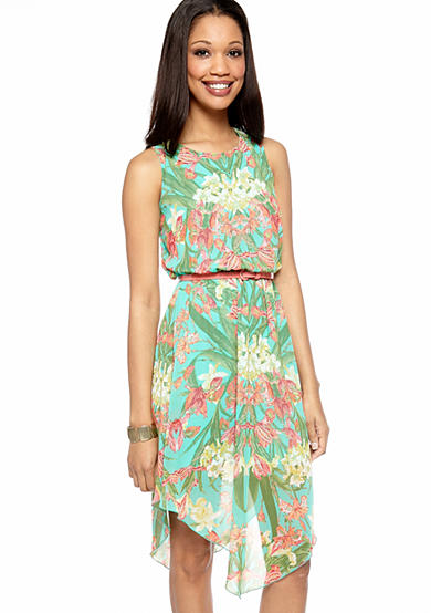 Sleeveless Floral Printed Belted Dress