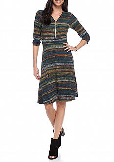 Sami & Jo Zip Front Rib Knit Dress