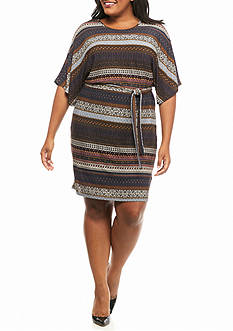 Sami & Jo Plus Size Kimono Sleeve Stripe Dress