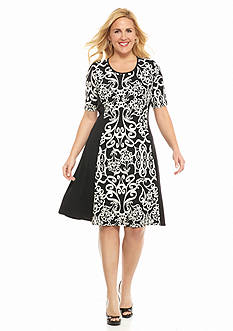 Sami & Jo Plus Size Printed Fit-and-Flare Dress