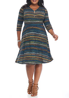 Sami & Jo Plus Size Rib Knit A-line Dress
