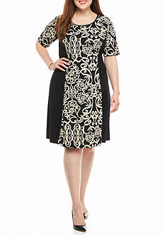 Sami & Jo Plus Size Scroll Printed Shift Dress