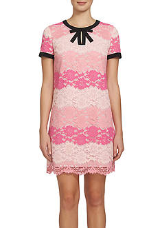 CeCe by Cynthia Steffe Striped Floral Lace Dress