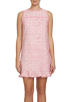 CeCe Clipped Tweed Ruffle Dress