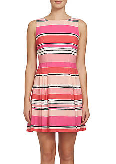 CeCe Tulip Striped A-Line Dress