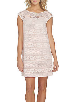 CeCe Striped Lace Shift Dress