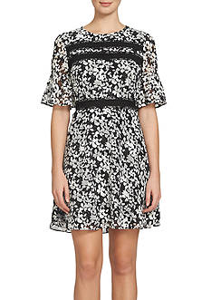 CeCe Bell-Sleeve Floral Jacquard Dress