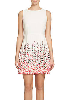 CeCe Placed Floral Fit and Flare Dress