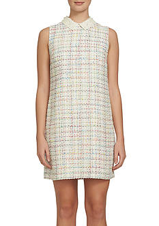 CeCe Pearl Collar Tweed Shift Dress