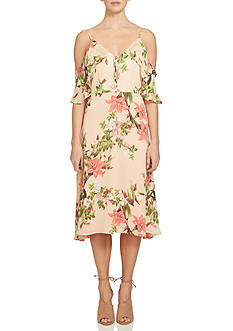 CeCe Cold Shoulder Floral Printed Fit and Flare Dress
