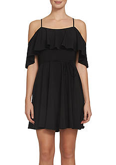 CeCe Cold Shoulder Tie-waist Dress