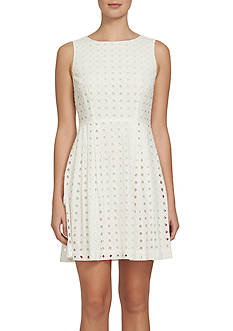 CeCe Eyelet Fit-and-Flare Dress