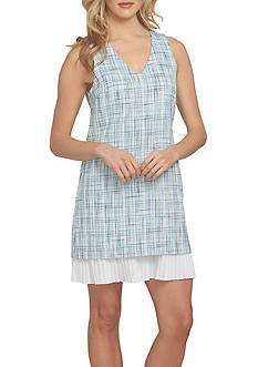 CeCe Sleeveless Tweed V-Neck Shift Dress