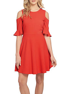 CeCe Cold Shoulder Ruffle Sleeve Dress