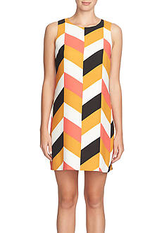 CeCe by Cynthia Steffe Herringbone Printed Shift Dress