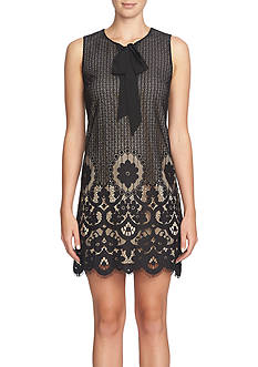 CeCe by Cynthia Steffe Tie-Neck Floral Lace Shift Dress