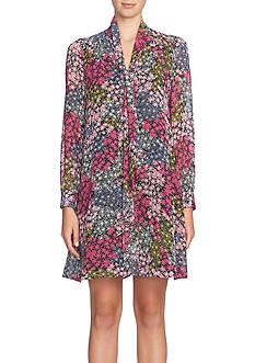 CeCe Tie-Neck Floral Shift Dress