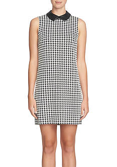 CeCe by Cynthia Steffe Houndstooth Printed Shift with Faux Leather Collar
