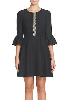 CeCe by Cynthia Steffe Bell Sleeve Lace Trim Dress