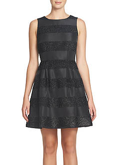 CeCe by Cynthia Steffe Sparkle Stripe Fit and Flare Dress