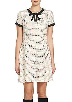 CeCe by Cynthia Steffe Bow-Neck Tweed A-line Dress