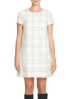 CeCe Plaid Tweed Shift Dress