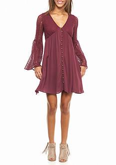 Jolt Bell Sleeve Crouche Bodice Button Front Dress