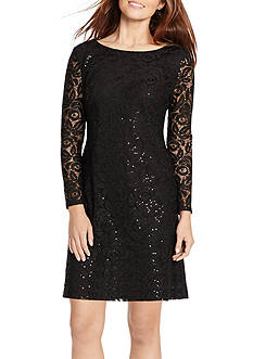 American Living™ Sequined Floral-Lace Dress
