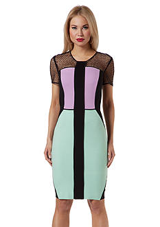 NUE by Shani™ Short Sleeve Color Block Sheath Dress