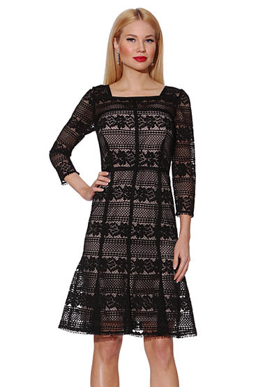 NUE by Shani™ Lace Dress with Flirty Flared Hem