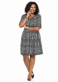 RMLL® Plus Size Printed Scuba Fit-and-Flare Dress