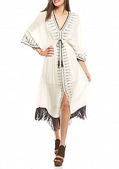 Taylor & Sage Embroidered Fringe Dress