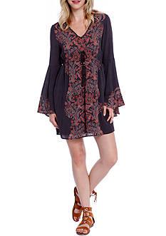 Taylor & Sage Printed Tassel Peasant Dress