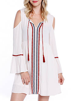 Taylor & Sage Cold Shoulder Embroidered Peasant Dress