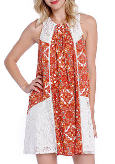Taylor & Sage Medallion Printed Lace Dress
