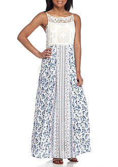 Taylor & Sage Maxi Crochet Bib Tassels Dress