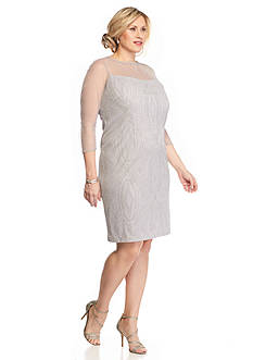 Maya Brooke Plus Size Illusion Neckline Cocktail Dress