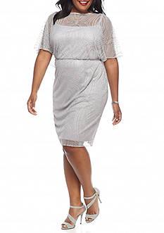 Maya Brooke Plus Size Glitter and Mesh Cocktail Dress