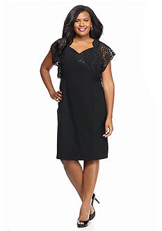 Maya Brooke Plus Size Lace and Sequin Bolero Jacket Dress