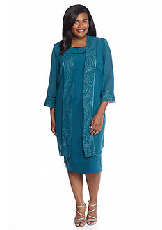 Maya Brooke Plus Size Glitter Trim Jacket Dress
