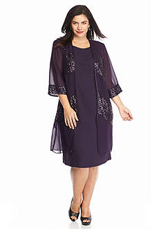 Maya Brooke Plus Size Elongated Jacket Dress with Sequin