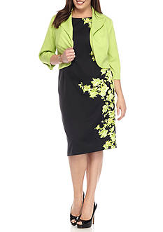 Maya Brooke Plus Size Floral Jacket Dress