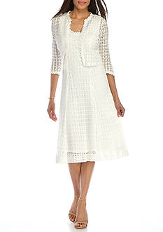 Robbie Bee Crochet Lace Jacket Dress