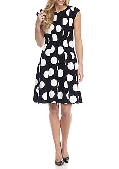 Robbie Bee Polka Dot Fit and Flare Dress