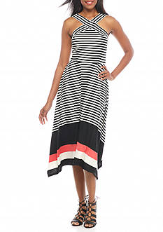 Robbie Bee Crisscross Front Stripe Dress