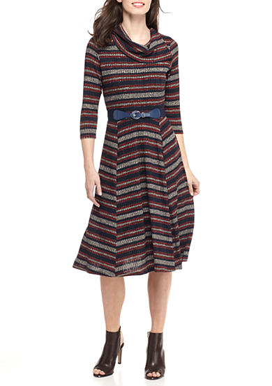 Robbie Bee Striped Fit and Flare Sweater Dress