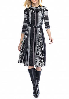 Robbie Bee Striped Fit and Flare Belted Knit Dress
