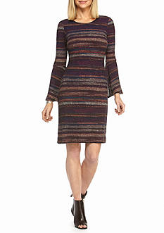Robbie Bee Striped Bell Sleeve Sheath Dress