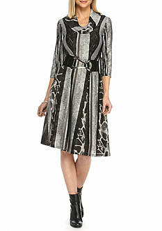 Robbie Bee Striped Cowl-neck Belted Dress